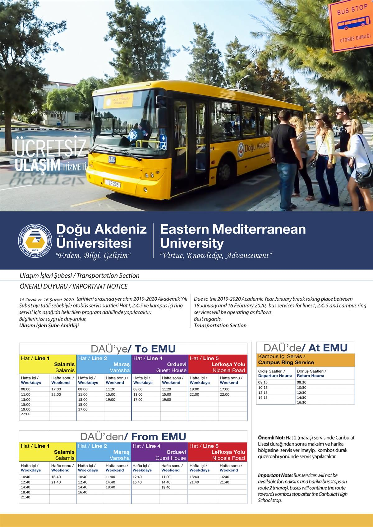 Spring Break Student Bus Services Timetable